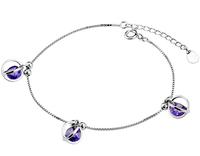 free shipping Silver bracelets fashion cutout bead transfer amethyst 925 pure silver bracelets