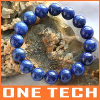 Natural lapis lazuli bracelet 12MM Need less blue gold Limit free shipping promotion