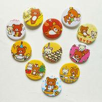 2.5cm Rilakkuma tin badge Novelty Cartoon Backpack Decorations Clothing Accessories Kid Gift Pin Badges 108pcs/lot Free Shipping