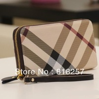2013 New! Genuine Leather Fashion Plaid Zipper Wallet for woman, clutch purse, free shipping