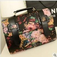 2013 Vintage oil painting bag flower vintage messenger bag briefcase bag 2013 women handbag fashion handbag cross-body