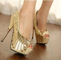 free shipping,2013 Euramerican shining handmade beading platform high thin heels woman shoes,women pumps,lady heels,club shoes