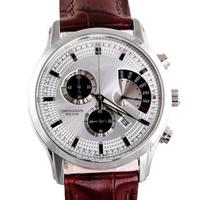 Free shipping  watches men  BEM-501L-1AV  GENUINE LEATHER CHRONOGRAPH 50M WR