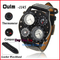 Oulm Multi-Function Military Watch for Male with Dual Movt Genuine Leather Band Compass & Thermometer Decorative watch  1145