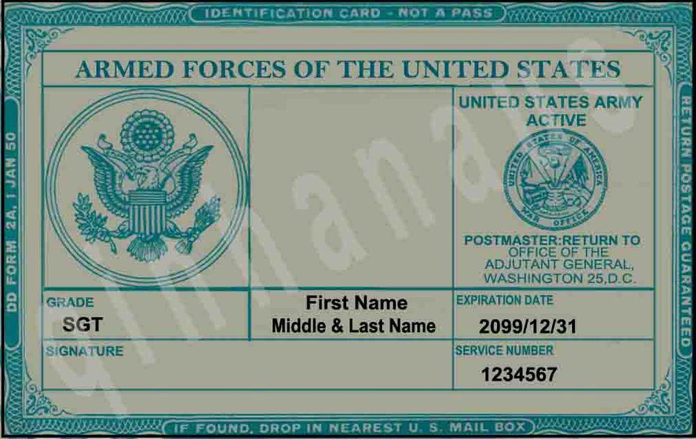 Army Military ID Card on Custom Military Id Cards