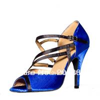 Wholesale Women Blue Satin Dance Shoes Latin Ballroom Shoes Salsa Dance Shoes Ceroc Dance Sandals Size 34,35,36,37,38,39,40,41