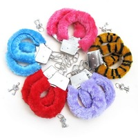 6 pcs/lot in 6 colors Sexy Soft Steel Fuzzy Furry Handcuffs Fur Trimmed Sex Toy Hand Cuffs-Drop shopping/2013HotSale[u02059]