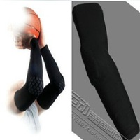 Free Shipping Basketball Sleeve With Elbow Pads Protector Black Basketball Arm Sleeve Anti-Shock Stretch Padded Arm Sleeves
