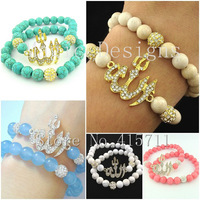 YH-AB30 Islamic Fashion Jewelry Muslim Allah Bracelet Set with Turquoise / Jade / Riverstone Fossil Beads