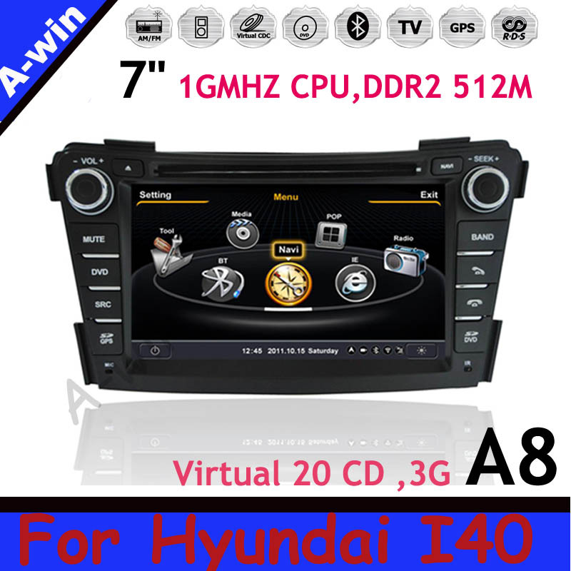 Dual Core 1080P HD 2 Din In Dash Support 3G WIFI + Steering Control+Map Gift! car radio dvd gps unit for Hyundai I40 device(China (Mainland))