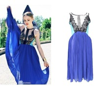 Free shoping Fashion Lace chiffon dress  Creased dress.Party dress, TB 2026