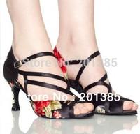2013 Women Black Satin Flower Dance Shoes Latin Ballroom Shoes Salsa Dance Shoes Wedding Dance Sandals