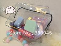 FREE shipping women fashion brand transparent cosmetic case luxury makeup organizer bag designer clutch bag travel wash bag tote
