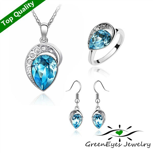 freeshipping Austria crystal set - my heart will go on necklace+ring+earrings 3 set(China (Mainland))