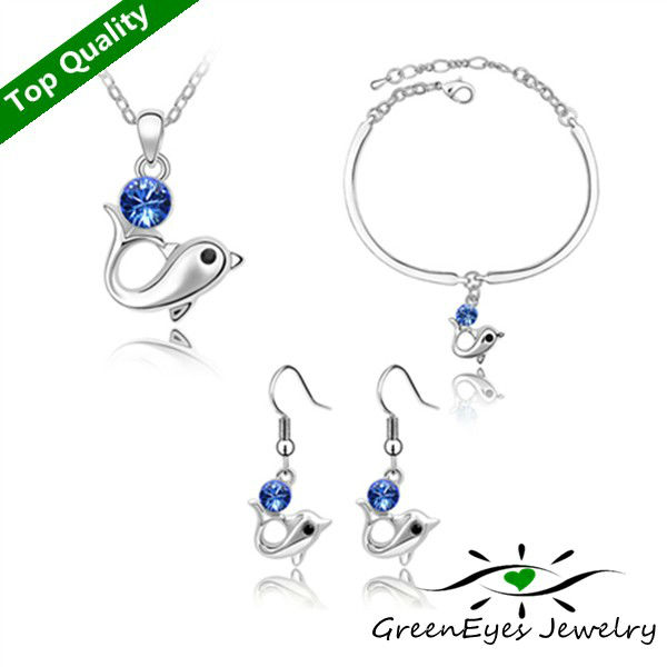 freeshipping Austria crystal set - - dolphin language necklace+bracelet+earring(China (Mainland))