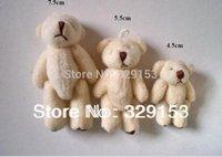 Free shipping H-7.5cm cream white  lovely Mini Stuffed Jointed Bear Gift Flower Packing Teddy Bear 100pcs/lot