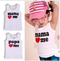 16pcs/lot wholesale low price cotton PaPa MaMa love me baby t shirt children tees kids Summer wear infant t-shirt child t shirts