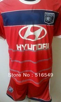 2013-2014 lyon red soccer jersey, 13/14 best quality lyon red soccer football jersey shirt &short, size:S/M/L/XL