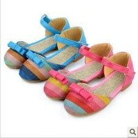 2013 Biggest Promotion!!!new arrival sweaty girls shoes flat sandals with flower on top beading strip free shipping