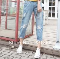 Free shipping 2014 Hot sale Bf jeans loose plus size hole harem pants harem pants female 2 colour