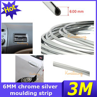 6mm x 3m Exterior Trim Molding Grille Impact Side Door Decoration Silver Strip Line Styling Style Interior Grill Car