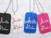 "Justin Bieber Dog Tag Necklace, I love JB dog tag with 24"" ball chain, filled in colour, 4colours, 50pcs/lot, free shipping"