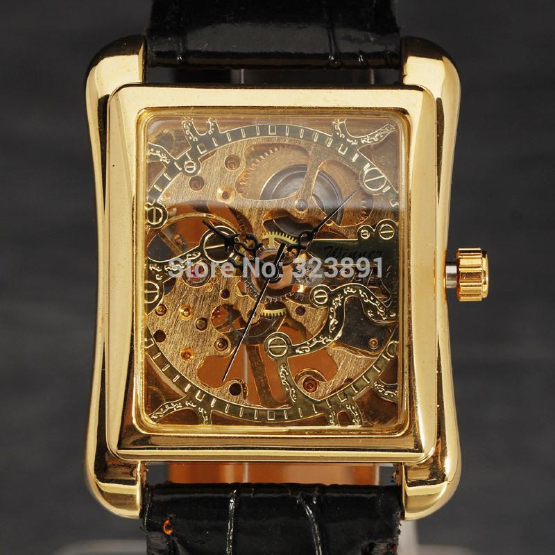 2014 new fashion men noble classic elegant skeleton engraving luxury leather hand wind mechanical wrist watch gift for men(China (Mainland))