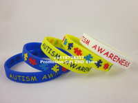AUTISM AWARENESS WRISTBAND, silicon bracelet, filled in colour, 5colours,yellow,white,black,blue,pink,100pcs/lot, free shipping