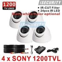 4pcs CMOS 700TVL 960H IR CUT Filter 24pcs IR leds Day/night waterproof indoor / outdoor CCTV security camera system with bracket