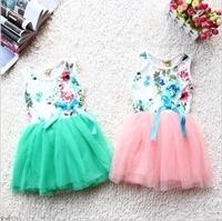Free shipping 2014 children's clothing girls summer colorful flowers ribbon tutu vest dress flower dress