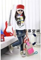 Retail 1pcs/lot New Autumn female children denim skirt jeans 2 piece girls jeans Stitching stripes