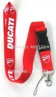 Free shipping New 10 pcs DUCATI Motorcycle Logo Phone Lanyard Key ID Neck Strap Wholesale