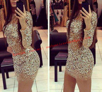Fashion lady Expensive Crystal Diamond  PARTY dresses Mini Long Sleeve Cocktail Dress  sexy club wear