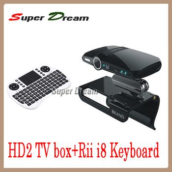 4pcs=2pcs 5.0MP camera Mic Allwinner A10 1080P HDMI 1GB/8GB skype HD2(EU2000) android tv box&stick+2pcs wireless Rii i8 Keyboard