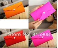 free shipping silica gel coin purse silicone wallet bag handbag Neon color jelly      women's day clutch sweet long design