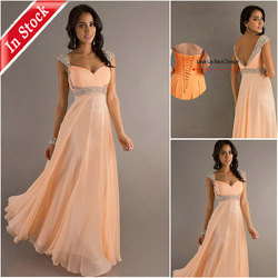 New Arrive !! In Stock ES01 Cheap Chiffon Beaded Ruffle Off Shoulder Evening Dress(China (Mainland))