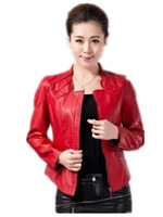 Free Shipping Women New 2013 Genuine leather jacket short design , fashion slim Ladies Big size Leather Coat