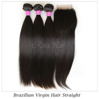 "Natural Straight Brazilian virgin hair,12""-28"",1 Piece Lace Top Closure with 3Pcs Hair Bundle,4pcs/lot, DHL Free shipping"