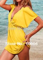 Holidays Sale 14 Colors Womens Sexy Bikini Cover Up Deep-V Shirt Dress Lady Beachwear Swimwear Free Shipping Wholesale # 257830