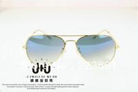 High quality 2013 Brand designer fashion rb sun glasses for women/men vintage aviator gradient blue/colored lens Free shipping