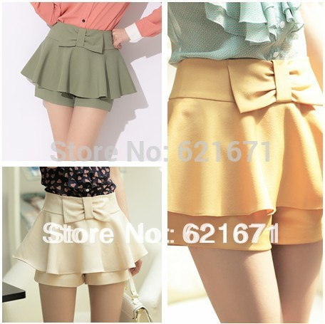 2013 Summer New Korean Vintage Fashion Women Sweet Bowknot Pleated High-waisted Culotte/Pantskirt/Shorts S/M Free Shipping(China (Mainland))