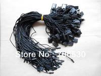 Free Shipping Black Sling Plastic Seal Tag Hanging String Garment Price Hangtag Cord 300pcs/lot
