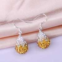 Free Shipping 925 Silver Earring,Shamball Disco Ball Bead,Fashion Earrings SBE058