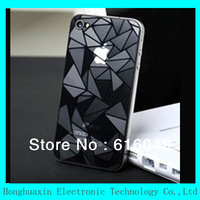 10pcs/lot free shipping retail packing 3D screen for iPhone 4G/4S,with Diamond pattern, Full body Stickers skin for iphone4/4S