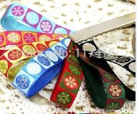 """9 mm  3/8""""  multicolored Christmas gold  snowflake printing wrap ribbon gift ribbon  50 yards / lot"""