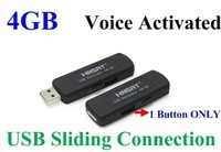 FreeShipping UR-09 VOR 4GB USB Disk Digital Audio Voice Recorder One Button Voice Activated Sliding USB Connection