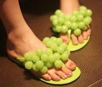 Free Shipping Summer beach slippers women's grape flip flops flat herringbone flip slippers female sandals