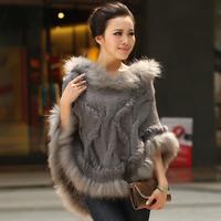 Chopop Fur 2013 spring thermal raccoon fur cape knitted fur poncho women's sweatercoat Fashion Style