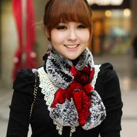 Chopop fur 2014 Hot-selling autumn and winter fur scarf rabbit fur scarf small flower rex rabbit hair muffler scarf 5 colors