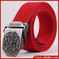 2013 man's Fashion classics Canvas Dragon totem Metal Buckle Belt,men 11 colors ethnic style casual belt 110cm C414